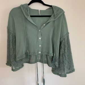 Free People Green Cropped Lace Sweater